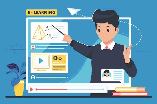 E - concetto di apprendimento illustrazione