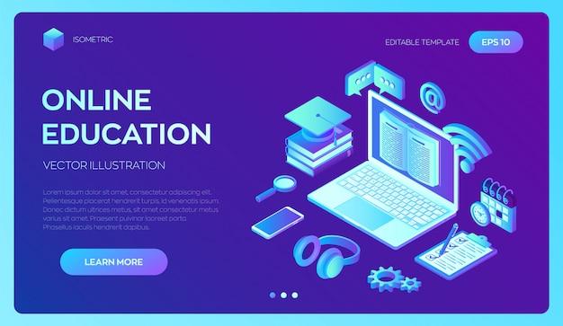 E-learning. insegna isometrica 3d innovativa di formazione online e apprendimento a distanza