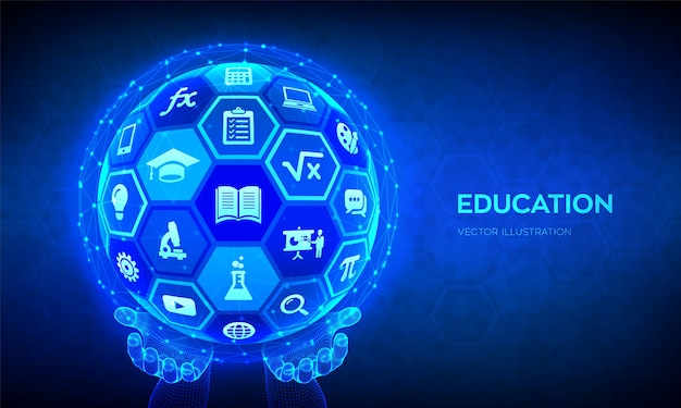 E-learning. innovativo concetto di tecnologia di formazione online. sfera astratta 3d con superficie di esagoni con icone nelle mani.