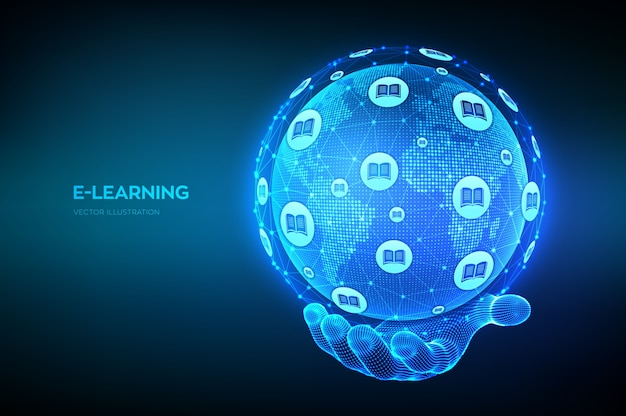 E-learning. innovativo concetto di tecnologia di formazione online. punto della mappa del mondo e composizione della linea. globo del pianeta terra in mano. webinar, corsi di formazione online. sviluppo delle abilità.