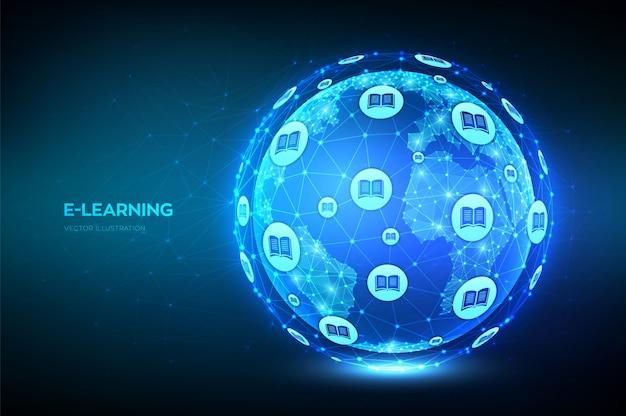 E-learning. concetto innovativo di tecnologia di istruzione online.