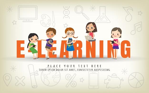 Illustrazione di concetto di corso di formazione dei bambini di e-learning