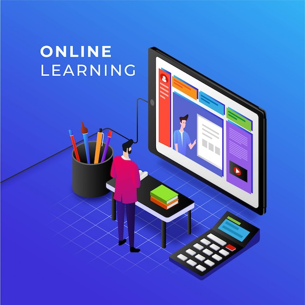 Corsi di e-learning e online sull'illustrazione del telefono cellulare per il concetto di educazione innovativa