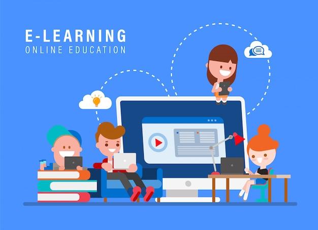 Illustrazione online di concetto di istruzione di e-learning. bambini che studiano a casa via internet. fumetto dei giovani nell'illustrazione piana di vettore di stile di progettazione.
