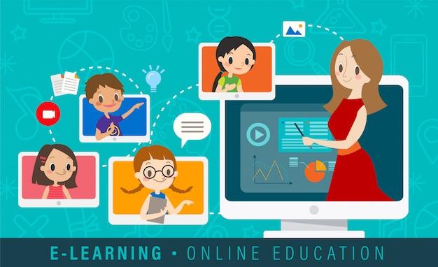 Illustrazione online di concetto di istruzione di e-learning.
