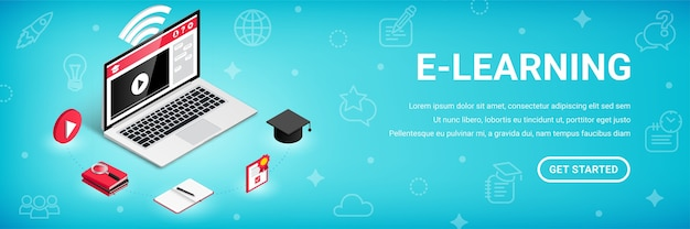 E-learning, banner di corsi di formazione online, concetto isometrico di vettore 3d di processo di istruzione.