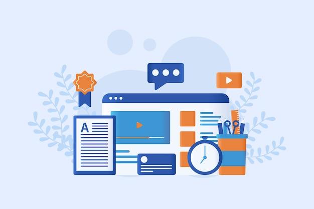 Illustrazione vettoriale di e-learning piatta