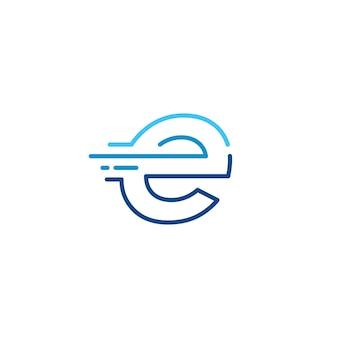 E lettera trattino minuscolo tecnologia digitale veloce consegna rapida movimento linea contorno monolinea logo blu vettore icona illustrazione