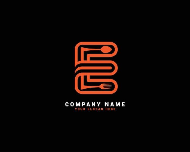 Logo lettera e, logo lettera e cibo, logo lettera e cucchiaio