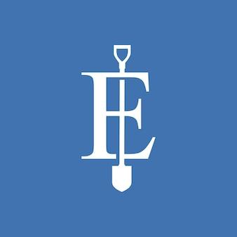 E lettera pala vanga logo icona vettore illustrazione