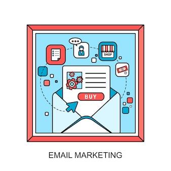 Concetto di e-mail marketing: pronto per inviare un'e-mail in stile linea