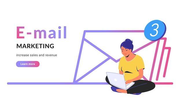 E-mail marketing per aumentare vendite e ricavi. illustrazione vettoriale di linea piatta della donna carina seduta da sola nella posa del loto con il computer portatile e che lavora da remoto. icona di tre buste su sfondo bianco