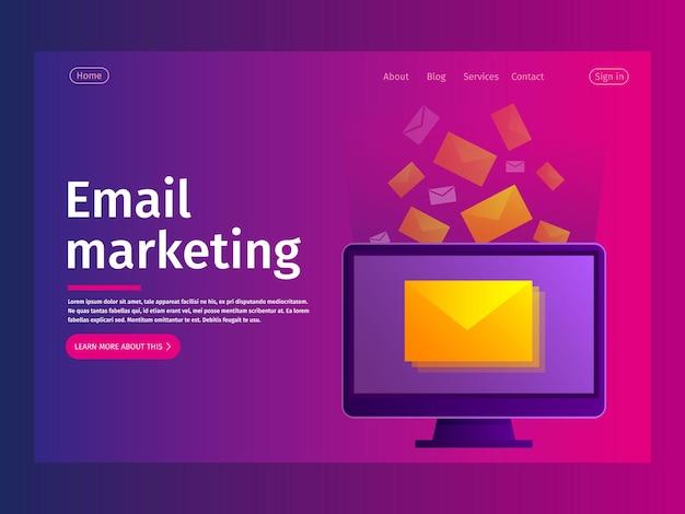 Pagina di destinazione del concetto di notifica e-mail