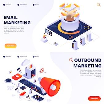 Modelli di pagine di destinazione di marketing via e-mail, in uscita, internet