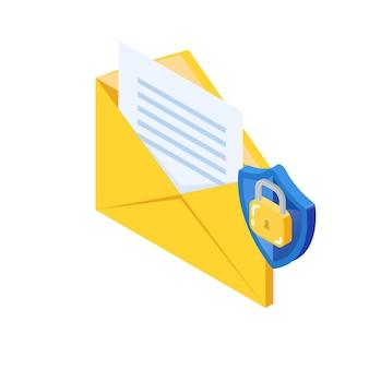 Concetto di crittografia di sicurezza della posta elettronica, protezione della posta elettronica. busta e icona del lucchetto.