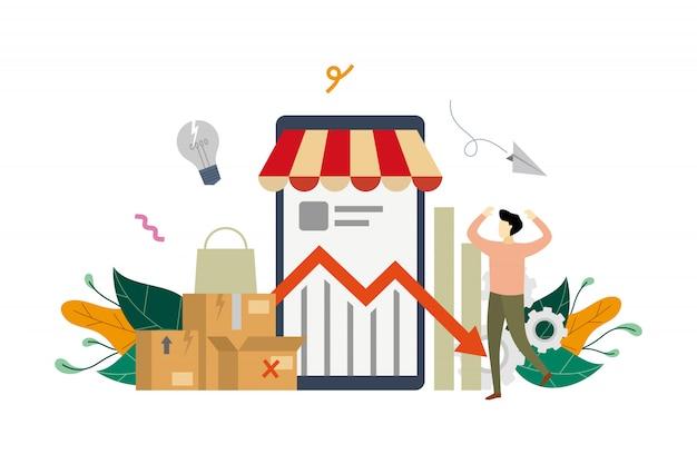 Illustrazione di concetto di crisi del reddito di e-marketing