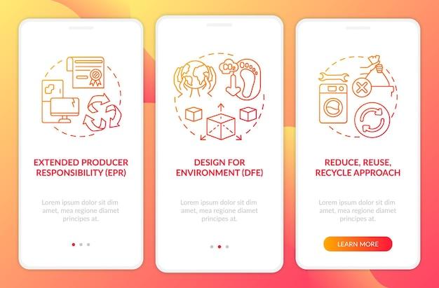Piani di riduzione degli e-scrap durante l'inserimento della schermata della pagina dell'app mobile con i concetti.