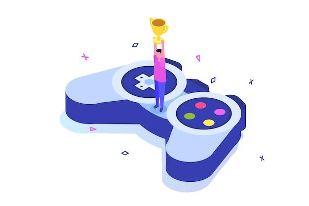 Concetto isometrico di gioco per computer di e-sport o cybersport.