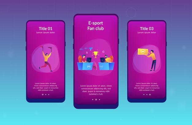Modello di interfaccia dell'app per gli appassionati di e-sport.