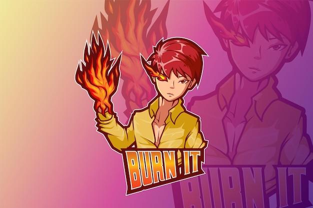E sport logo design ragazzo con il fuoco