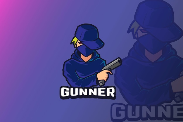 E sport logo design ragazzo con pistola