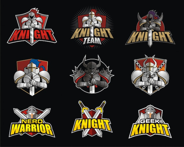 Bundle e-sport logo design con tema knight