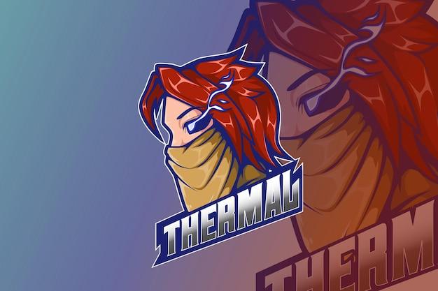 E sport logo design uomo con maschera