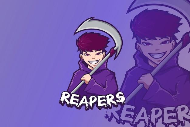 E sport logo design reaper ragazzo