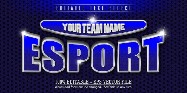 Testo e-sport, effetto testo modificabile in stile argento, blu