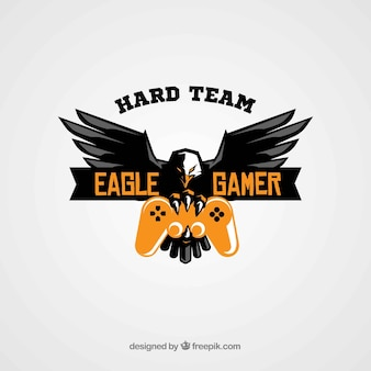 Modello di logo della squadra di e-sport con aquila e joystick