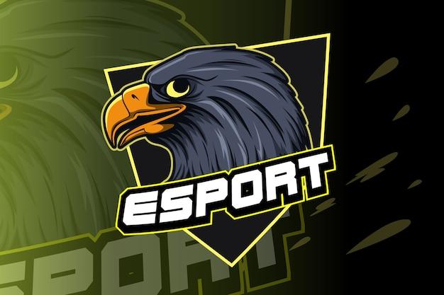 Modello di logo della squadra di e-sport con l'aquila