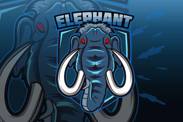 Modello di logo della squadra di e-sport con elefante
