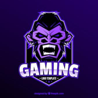Modello di logo della squadra di e-sport con la gorilla