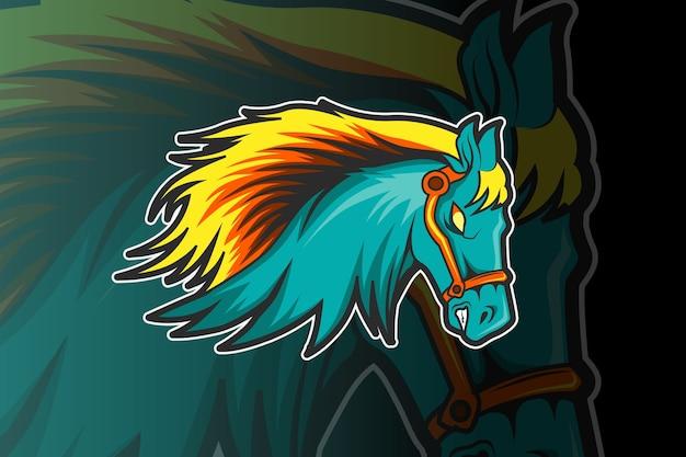 Modello di logo della squadra di e-sport con il cavallo