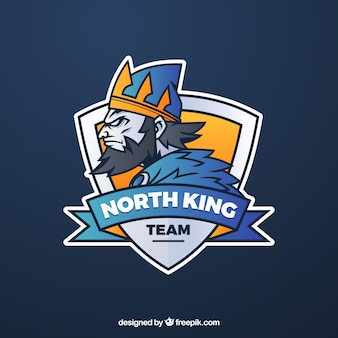 Modello di logo della squadra di e-sport con re Vettore Premium
