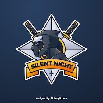 Modello di logo della squadra di e-sport con ninja Vettore Premium