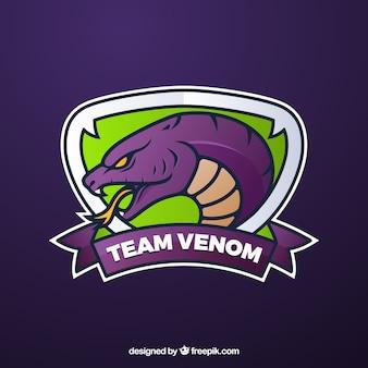 Modello di logo della squadra di e-sport con serpente Vettore Premium