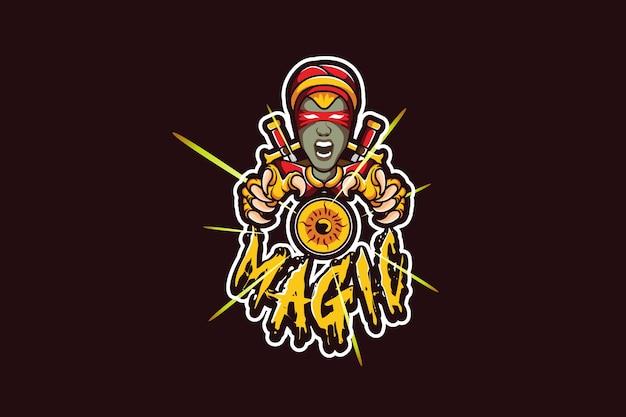 Modello di logo della squadra di e-sport con la strega