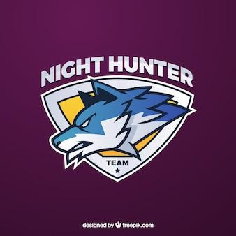 Modello di logo della squadra di e-sport con il lupo
