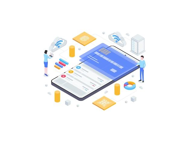 Illustrazione piana isometrica del portafoglio elettronico. adatto per app mobili, siti web, banner, diagrammi, infografiche e altre risorse grafiche.