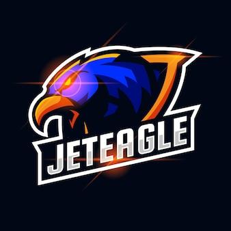 Illustrazione del modello di progettazione del logo esport arrabbiato dell'aquila