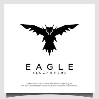 Illustrazione di progettazione del logo di volo dell'uccello dell'aquila