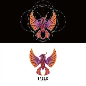 Disegno del logo colorato sfumato di uccello aquila