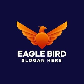 Disegno del logo sfumato dell'uccello dell'aquila