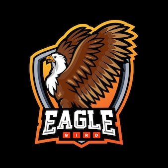 Disegno del logo esport della mascotte dell'uccello aquila