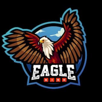 Disegno del logo esport della mascotte dell'uccello dell'aquila