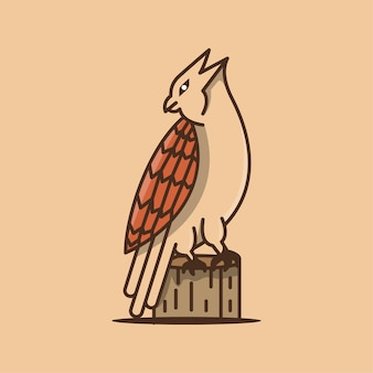 Modello di progettazione logo del fumetto di aquila con la faccia rivolta indietro e in piedi sul legno.