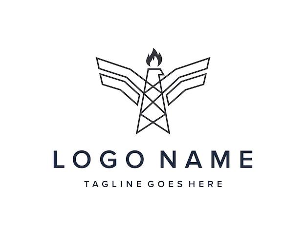 L'aquila e la piattaforma di perforazione delineano un design semplice ed elegante del logo geometrico creativo moderno