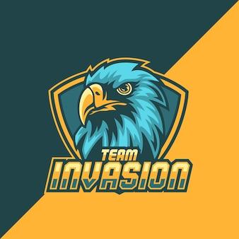 Logo della mascotte dell'aquila e-sport premium