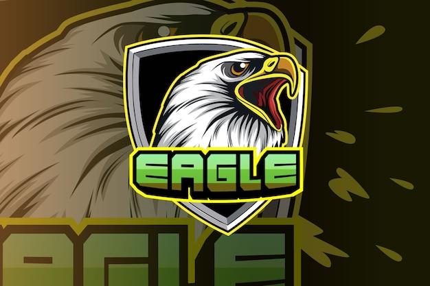 Modello di logo del gioco eagle esport